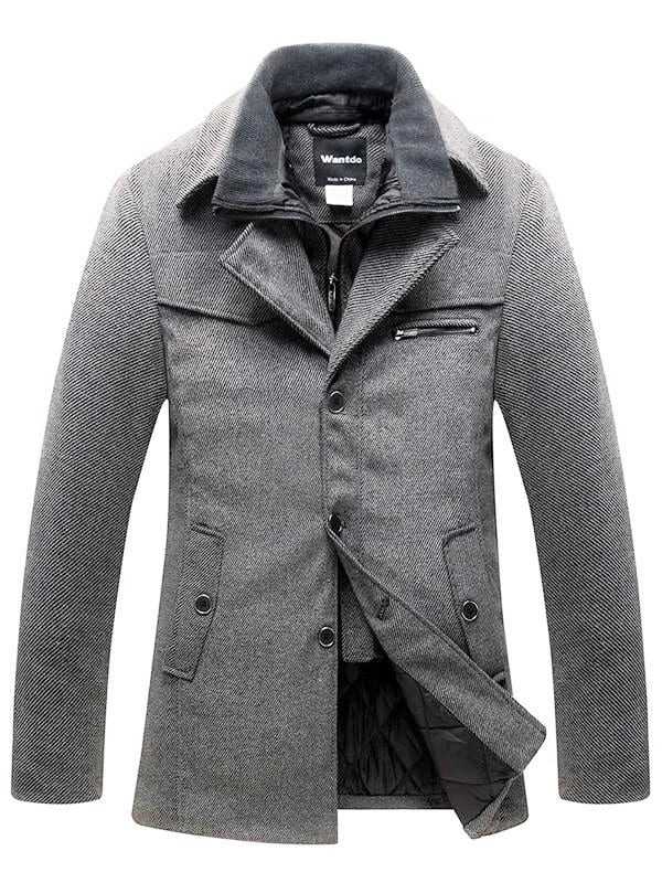 Light grey mens winter coat with black button