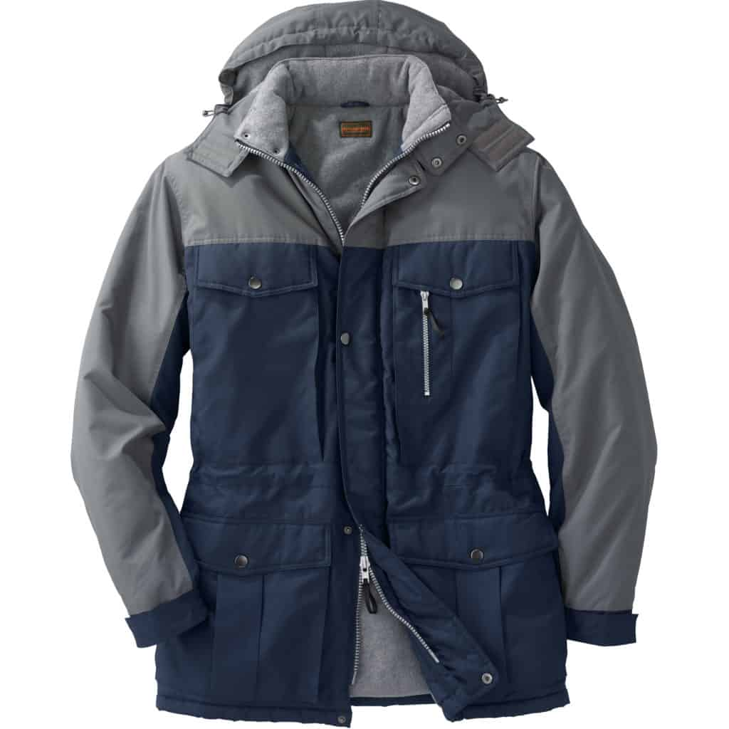 Mens winter coat dark blue body and sleeves back side with grey collar